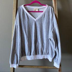 Grey Velvet-Like V-Neck Pullover